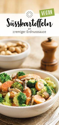 Sweet potatoes on creamy peanut sauce - Süsskartoffeln an cremiger Erdnusssauce sweet potatoes - Cauliflower Recipes, Potato Recipes, Veggie Recipes, Vegetarian Recipes, Healthy Recipes, Sauce Recipes, Pasta Recipes, Healthy Eating Tips, Clean Eating