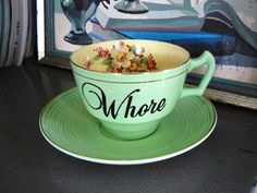 Whore teacup in mint by trixiedelicious on Etsy, $30.00