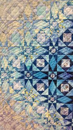 Closeup of Storm at Sea colorwash quilt, Tokyo Quilt Festival