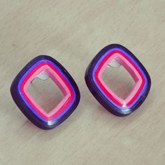 Check out this item in my Etsy shop https://www.etsy.com/listing/229135245/square-stud-earrings-in-pink-to-purple