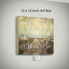 """Coastal Wall Art The Beach is Calling 12 x 12 inch coastal decor rustic sign shabby chic decor beach cottage wall art gifts for her by CoastalFocusArt 