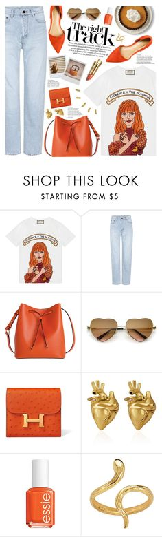 """""""right track (TOP SET 23RD JULY)"""" by valentino-lover ❤ liked on Polyvore featuring Gucci, Yves Saint Laurent, Lodis, Polaroid, StrangeFruit, Essie and Madina Visconti di Modrone"""