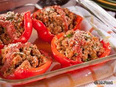 Turkey Stuffed Peppers - What You'll Need:  3/4 pound ground turkey breast 1 cup salsa 1 teaspoon garlic powder 1/2 teaspoon onion powder 1/2 teaspoon black pepper 2 red or yellow bell peppers, halved, seeded 1/2 cup no-salt-added tomato sauce 2 teaspoons grated parmesan cheese
