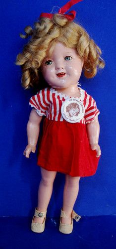 """HTF Vintage 1930s 11"""" Shirley Temple Doll Ideal Composition Compo Great Wig"""
