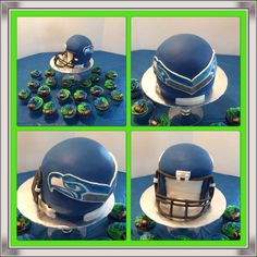 Seattle Seahawks Helmet Cake - Good Template - I would do the entire logo in different colored fondant to keep the color pallet consistent Football Helmet Cake, Seahawks Helmet, Football Cakes, Seahawks Football, Seattle Seahawks, Groomsman Cake, Groom Cake, Chocolate Footballs, Seahawks Super Bowl
