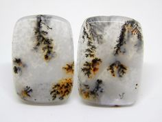 Agata dendritica Set cabochon 25 x 17 mm . Agata con paesaggio. Set di cabochon per orecchini. by HELGASHOP on Etsy