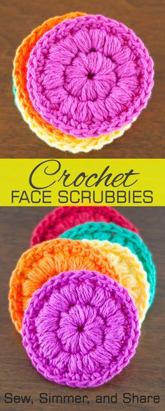 #Crochet Face Scrubbies   SewSimmerAndShare.com #freepattern, plus how to puff stitch!