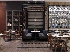 """""""Cotta Cafe"""" by Mim Design; the stacked concrete screen wall caught my eye. Nice contemporary visual."""