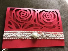 20 laser cut invitations ENVELOPE  Red Invite Tarjeta De Invitación Roja  | eBay