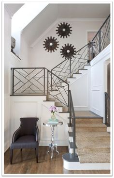 Modern Staircase Design Ideas - Search photos of modern stairs and also uncover design and also design ideas to inspire your own modern staircase remodel, consisting of unique barriers and also storage . Interior Stair Railing, Modern Stair Railing, Stair Railing Design, Iron Stair Railing, Metal Stairs, Staircase Railings, Modern Stairs, Staircases, Painted Stairs