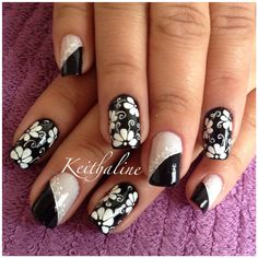 E eu fiz! Flower Nail Designs, Pink Nail Designs, Flower Nail Art, Beautiful Nail Designs, Beautiful Nail Art, Cute Nail Art, Cute Nails, Pretty Nails, Diy Nails