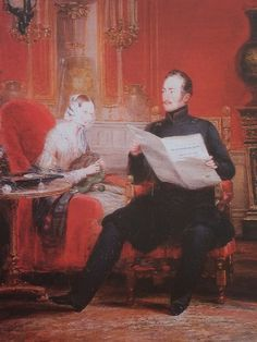 "Tsar Nicholas I of Russia and Empress Alexandra Feodorovna (nee Princess Charlotte of Prussia) taking tea in the Red Room of the Winter Palace by Christina Robertson. ""AL"""