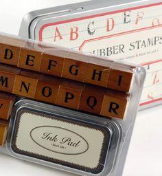 Cavallini Upper Case Alphabet Rubber Stamp Set