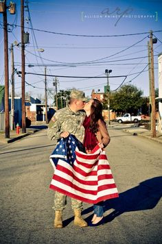 Love the flag and the street! It is perfect! #engagement #pictures #army #americanflag #usa #love
