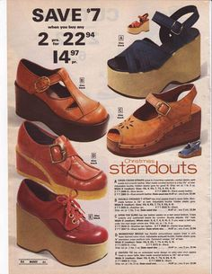 Retro Fashion 1975 - I wore these for a while, until I fell off them a few times and sprained my ankles. Then I went back to Keds. Vintage Outfits, Vintage Shoes, 70s Outfits, Rave Outfits, Stylish Outfits, 70s Fashion, Vintage Fashion, Womens Fashion, Fashion Trends
