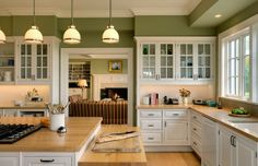 love the green and white. With my dusty rose accents and dark hutch. somesort of vintage tin backsplash