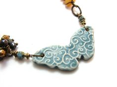 Ceramic Butterfly Necklace Beaded Earthy Chain Teal by BooBeads, $52.00