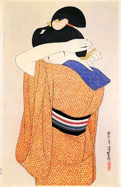 Ito Shinsui: Long undergarment (Nagajuban) - The Art of Japan Japan Illustration, Japanese Drawings, Japanese Prints, Toledo Museum Of Art, Art Occidental, Art Japonais, Japanese Painting, Japan Art, Print Artist
