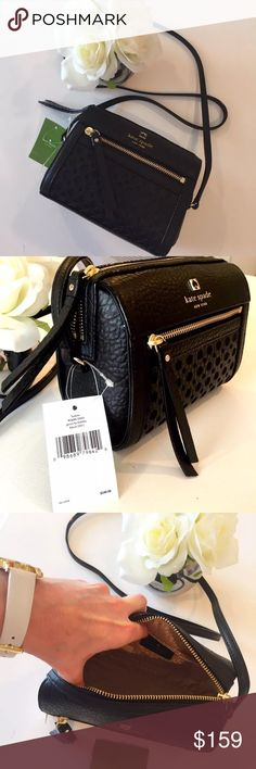 """🌺Host Pick🌺 Kate ♠️ Looloo Perri Lane Bubbles NWTs Kate Spade Looloo Perri Lane Bubbles Black  Length: Approx 6.75""""  Height: Approx 5.5""""  Depth: Approx 2.5""""  Strap Drop: Approx 19""""  Material: leather  Gold Tone Hardware  Zip closure  Pink Fabric Lining with Kate Spade Logo  Retails around $262 (Ships on day of purchase) kate spade Bags Crossbody Bags"""