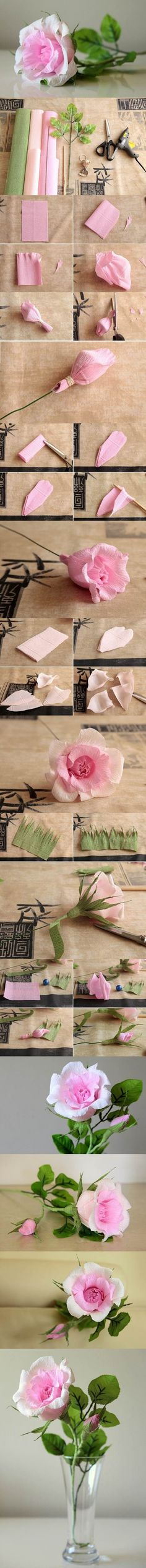 DIY Beautiful Pink Crepe Paper Rose | iCreativeIdeas.com LIKE Us on Facebook ==> https://www.facebook.com/icreativeideas