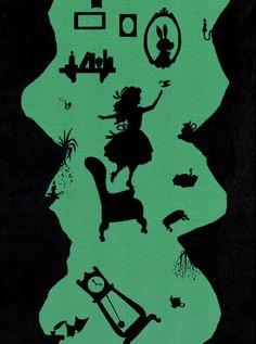 Alice in Wonderland silhouette art print of Alice tumbling down the rabbit hole Alice In Wonderland Silhouette, Alice In Wonderland Paintings, Alice In Wonderland Room, Wonderland Party, Arte Disney, Disney Art, Rabbit Silhouette, Disney Paintings, Pinturas Disney