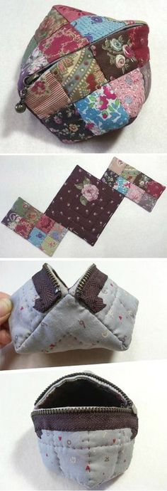 Small Zipper Coin Purse. Quilting and Patchwork Tutorial http://www.handmadiya.com/2015/10/quilted-coin-purse.html