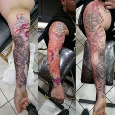 """Custom freehand oriental sleeve in progress... Client wanted to have a oriental sleeve and i just love it, when they say """"do whatever you want"""""""