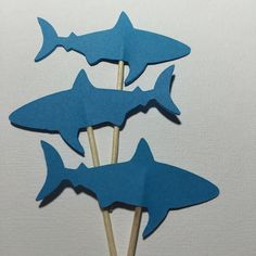 12 Shark Cupcake Toppers Die Cut - Select a Color - food Picks - Party Decor -Birthday - Beach by MyCutieBows on Etsy