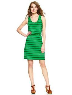 vibrant green stripes, and it comes in petite! (Gap)