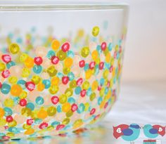 Hand Dotted Glass Bowls Tutorial - for wine glasses?