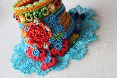 freeform crochet cuff - bracelet with beaded crochet flowers and blue crochet lace by irregularexpressions   by irregular expressions