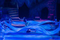 Great use of blue fabric panels for waves, water, & covering mermaid legs. The Little Mermaid, Jr. at Orlando Rep The Little Mermaid Musical, Little Mermaid Play, Little Mermaid Costumes, Set Design Theatre, Stage Design, Mermaid Lagoon, Mermaid Mermaid, Vintage Mermaid, Mermaid Tails