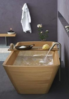 this bath would look amazing in a bathroom with lighter walls that gets lots of natural light
