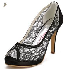 ElegantPark Women EP11084-PF Peep Toe Platform High Heel Lace Satin Evening Party Dress Pumps Black US 7 - Elegantpark pumps for women (*Amazon Partner-Link)