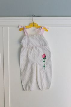 6-9 Months: Rosebud Baby Romper, Pink Floral Print with Embroidered Flower, Tie Shoulders, by Bryan
