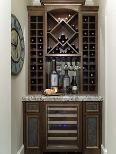 Contemporary Wine Cabinet with Custom Hanging Glass Shelves - Home ...