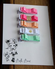 Belle's Bows.Girls set of five hair bows.Gold and pink.Mint,White,coral.Glitter hair bows.Gold hair bows.Pink.Pink and gold hair bows.Gift.