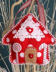 red & white felt gingerbread cottage ornament... so cute!