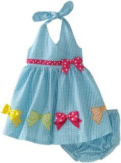 Bonnie Baby Girls' Seersucker Halter Dress with Bows, Turquoise, 12 Months Little Girl Outfits, Little Girl Dresses, Kids Outfits, Toddler Dress, Toddler Girl, Baby Girls, Baby Dress Design, Girl Dress Patterns, Applique Dress