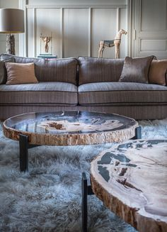 Dering Hall - Buy Yellowstone coffee table by LA FIBULE - Coffee and Cocktail Tables - Tables - Furniture Rustic Coffee Tables, Diy Coffee Table, Coffee Table Design, Wood Tables, Table Furniture, Furniture Design, Garden Furniture, Petrified Wood Table, Furniture Inspiration
