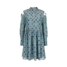 Campion Dress by Unique (€405) ❤ liked on Polyvore featuring dresses, pale blue, blue silk dress, pintuck dress, topshop dresses, blue collared dress and cutout dresses