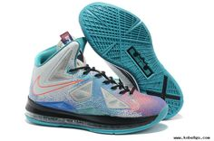 Authentic Pure Platinum Nike LeBron X Pure Platinum Black-Sport Turquoise For Sale