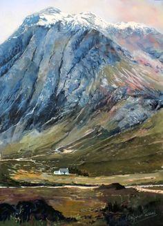 Maragret Evans, Snow Caps, Glencoe, Pastels.14x20 l Scottish Contemporary Art