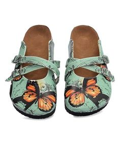 Take a look at this Green & Orange Butterfly Cross-Strap Mule today! Butterfly Shoes, Orange Butterfly, Green And Orange, Slip On Shoes, Take That, Loafers, Footwear, Pairs, Womens Fashion