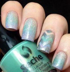 Edgy Gradient via #nailpolishwars #green #teal #glitter #nails #nailart - bellashoot.com by irenepo