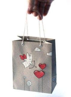 Handmade gift bags using cardboard, scissors, pen, thread, cringle and gouache, by Andrey Koval