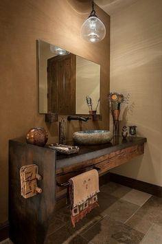 Consolle lavabo in legno naturale - Top lavabo in legno naturale rustico per il bagno.