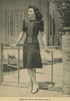 Subversive Femme: Smart Top and Skirt, Woolworths Economy Knits 23, c. 1940s