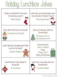 Free printable holiday lunchbox jokes for kids plus a cute Christmas bento idea! Free printable holiday lunchbox jokes for kids plus a cute Christmas bento idea! Christmas Jokes For Kids, Funny Christmas Jokes, Printable Christmas Games, Christmas Card Sayings, Christmas Party Games, Diy Christmas Cards, Christmas Activities, Christmas Humor, Holiday Fun