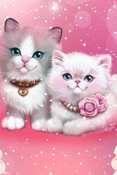 By Artist Unknown. Wallpaper Gatos, Cat Wallpaper, Animal Wallpaper, Kittens Cutest, Cats And Kittens, Cute Cats, Cute Disney Wallpaper, Cute Cartoon Wallpapers, Hello Kitty Iphone Wallpaper